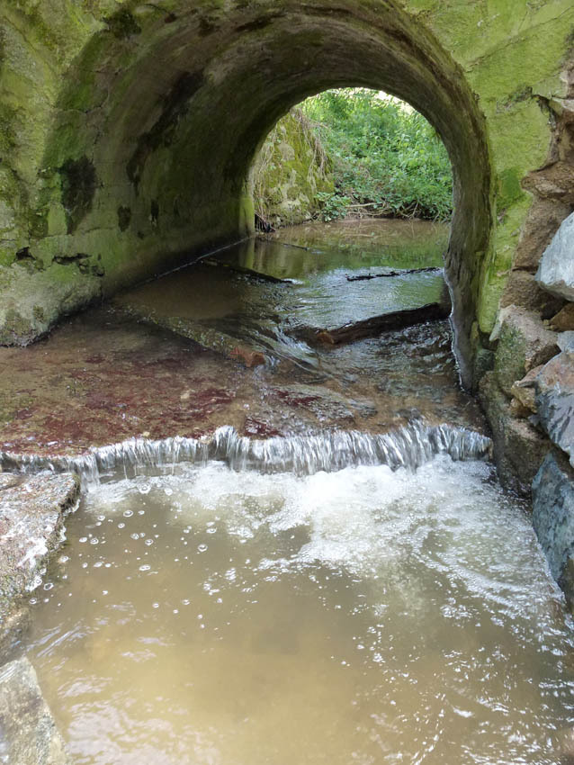 La pose de barrettes en bois d'acacia permet de relever la lame d'eau en période de faible débit.