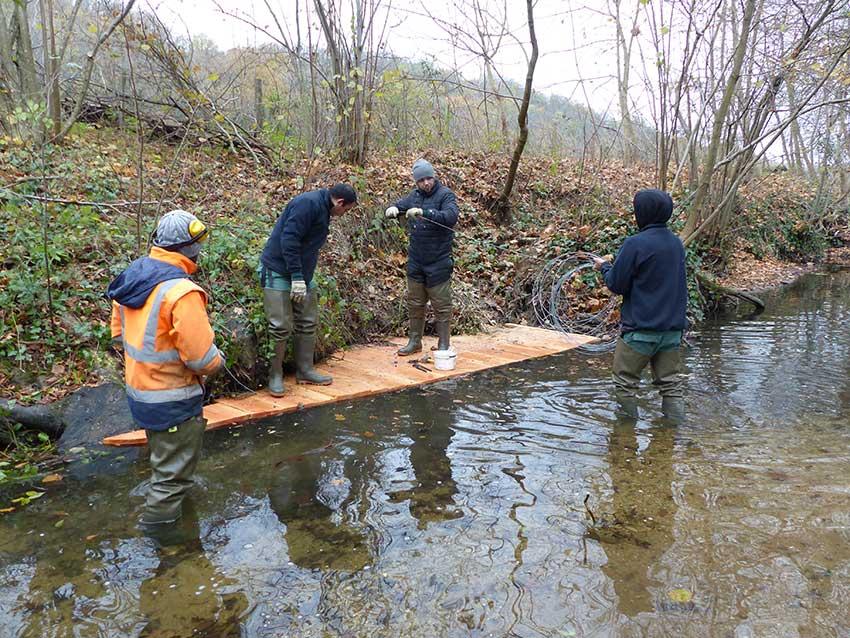 Réalisation d'une cache à poissons sur le Garon par la brigade de rivière.