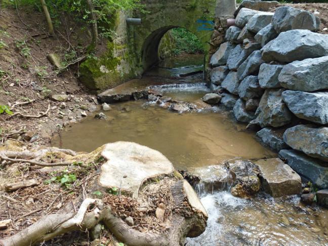"""La création de 2 """"bassins"""" permet à la faune piscole de franchir plus aisément la chute d'eau créer par le radier du pont."""